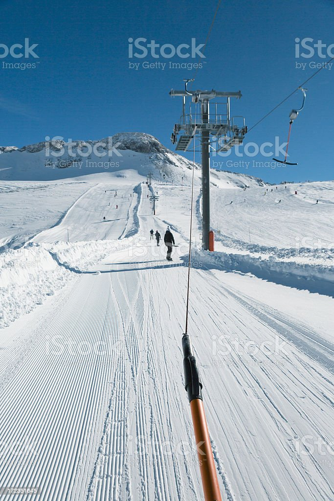 Ski lift in European Alps royalty-free stock photo