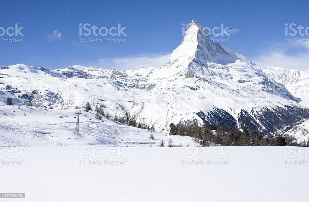 Ski Lift in front of the Matterhorn stock photo