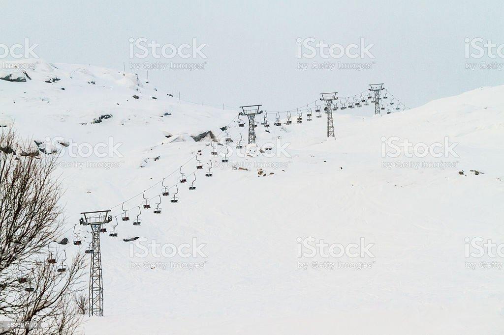 Ski lift in Katterjåkk stock photo