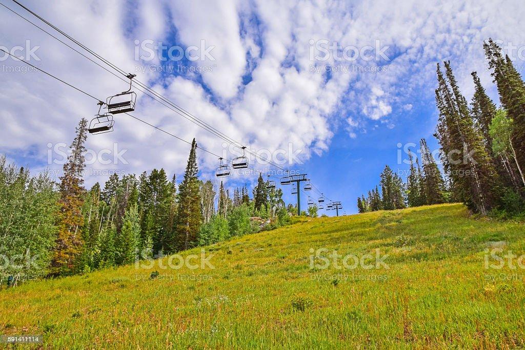 Ski Lift in Summer stock photo