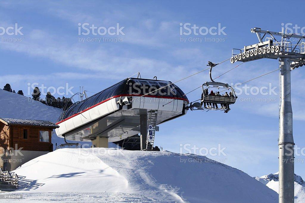 Ski lift in the Alps royalty-free stock photo