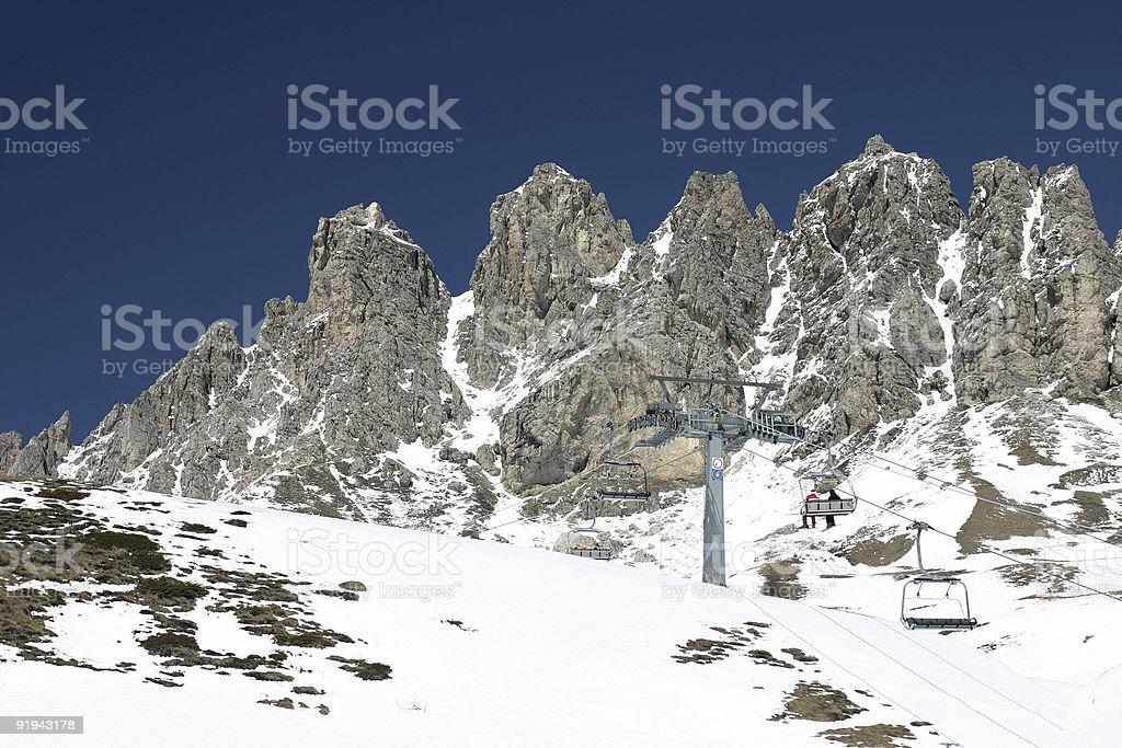 Ski lift in the Dolomites royalty-free stock photo