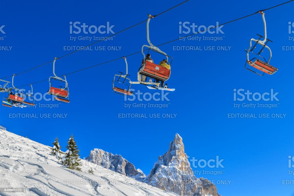 Ski lift in the Pale di San Martino Natural Park, Italy stock photo