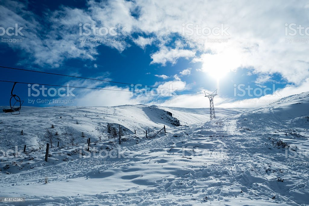 Ski Lift in the Scottish Highlands stock photo