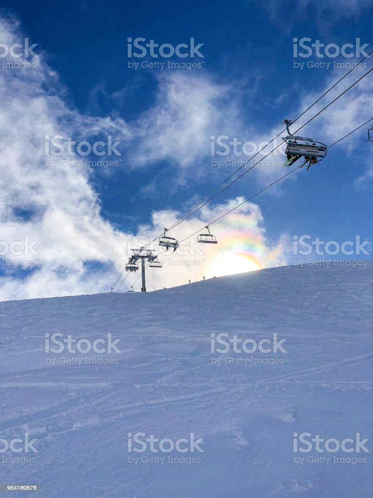 Ski Lift in the Sun in Samoens, France. stock photo