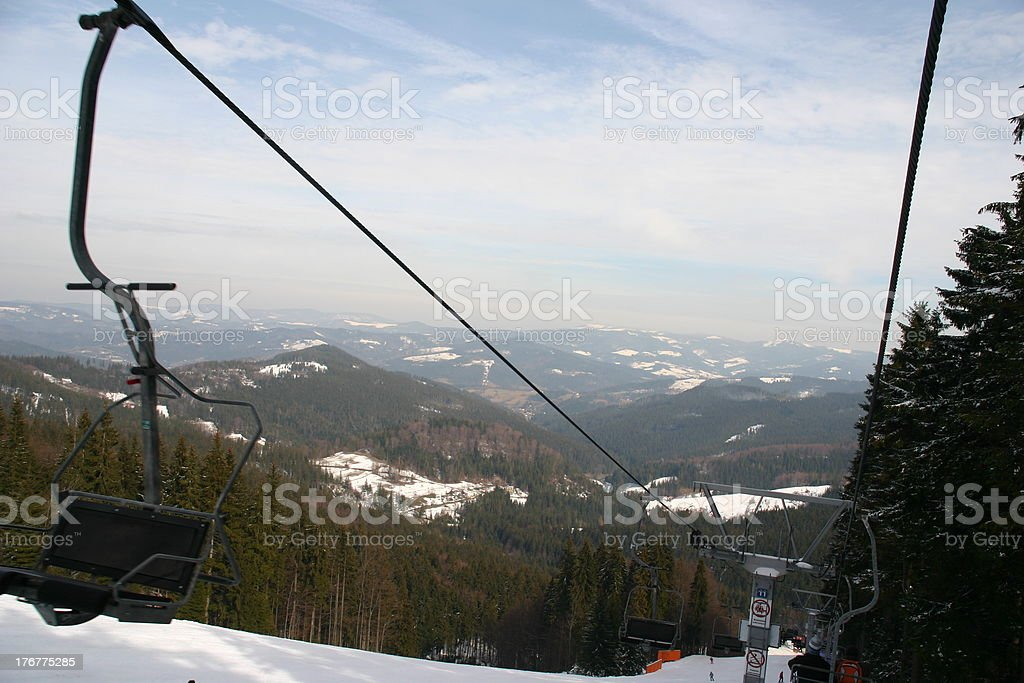 Ski lift in winter royalty-free stock photo