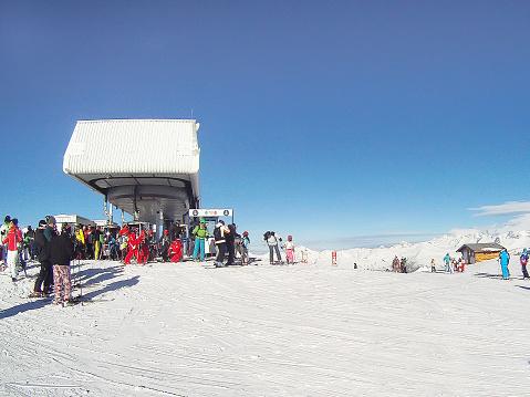 ski lift in winter resort, French Alps