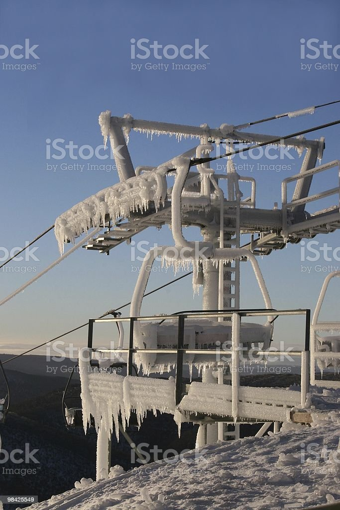 Ski lift just after daybreak royalty-free stock photo