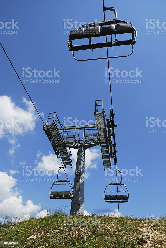 Ski Lift on Monte Zoncolan in Summer royalty-free stock photo