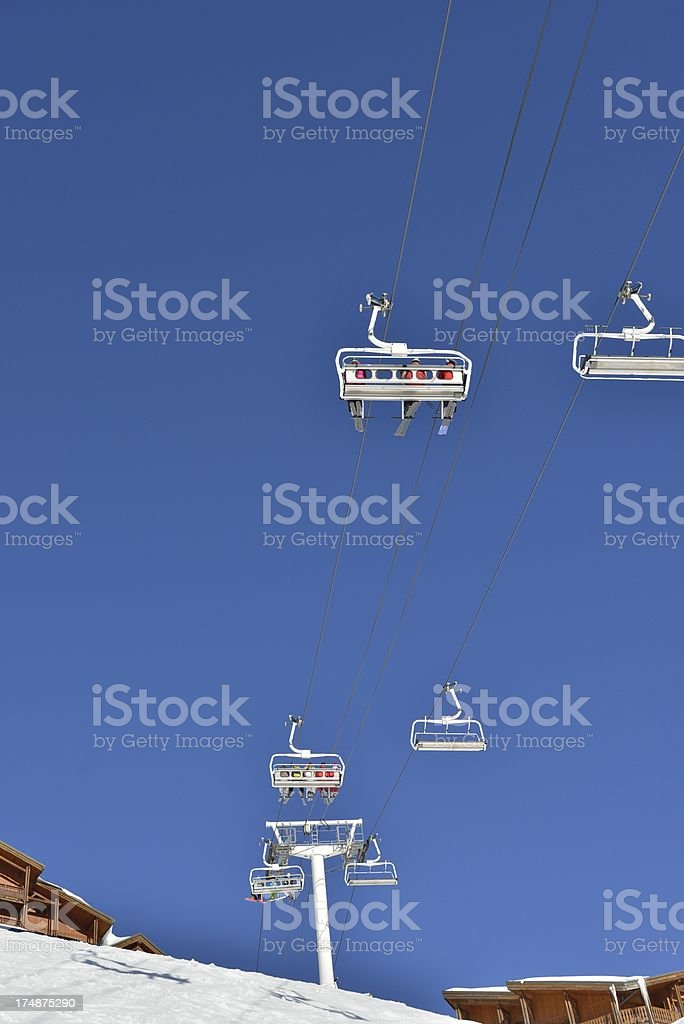 Ski lift overhead royalty-free stock photo