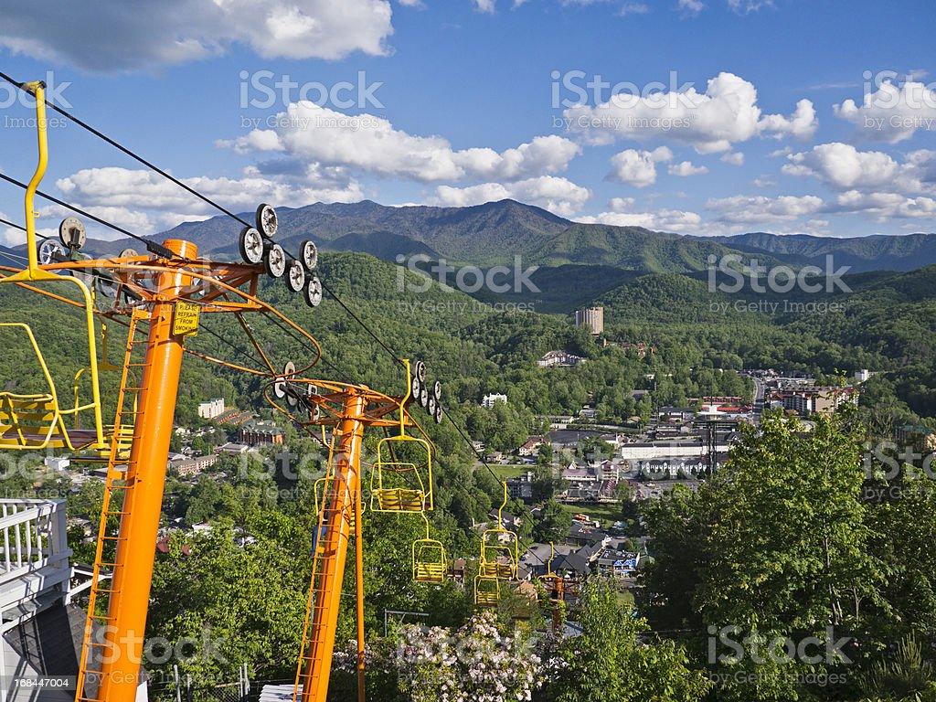 Ski lift overlooking the Smoky Mountains and Gatlinburg stock photo