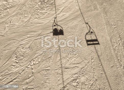 Ski Lift, shadow, vintage, black and white,