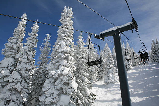 ski lift old double chair ski lift steamboat springs stock pictures, royalty-free photos & images