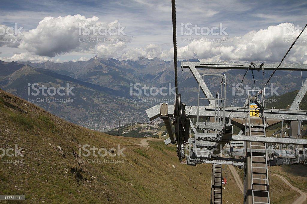 ski lift - Pila Aosta Valley royalty-free stock photo