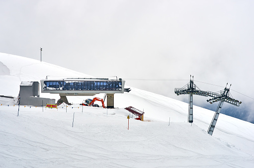 ski lift slope mountain, white snow and clouds