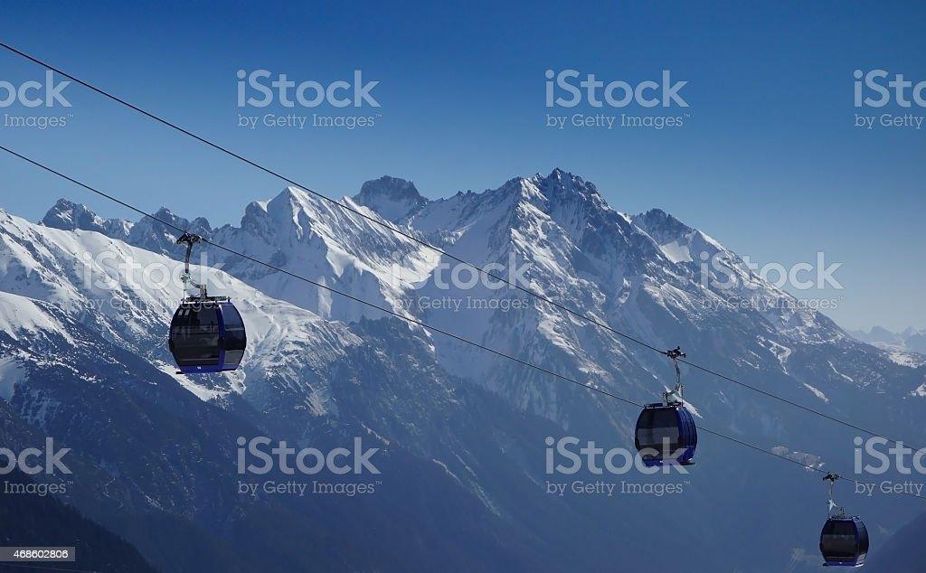 Ski lift - St Anton - Skiing stock photo