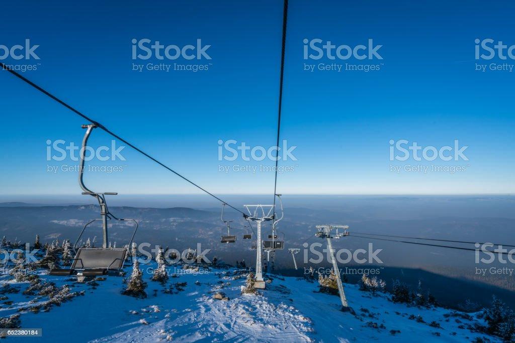 Ski lift up to the top of the Szrenica mountain stock photo