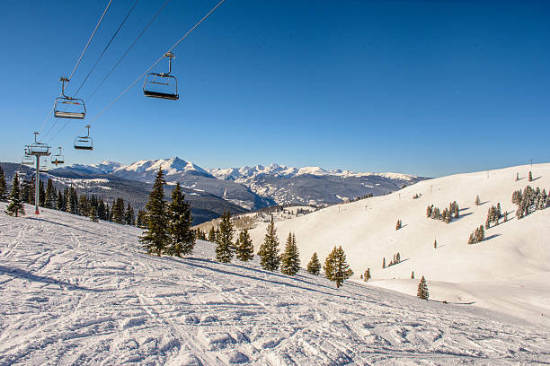 ski lifts in the back bowls of vail - skidpist bildbanksfoton och bilder