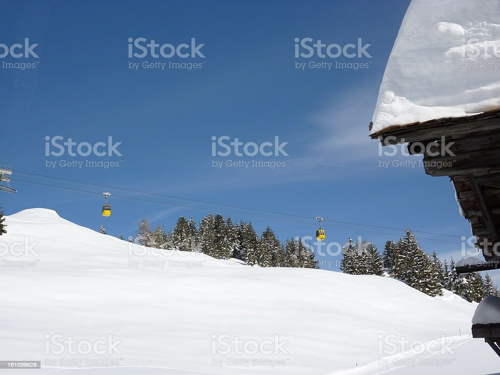 Ski lodge and cable car royalty-free stock photo