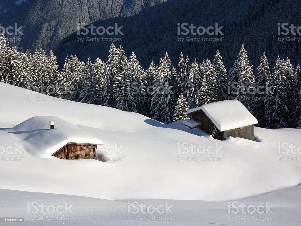 Ski lodge in winter landscape of the Austrian Alps stock photo