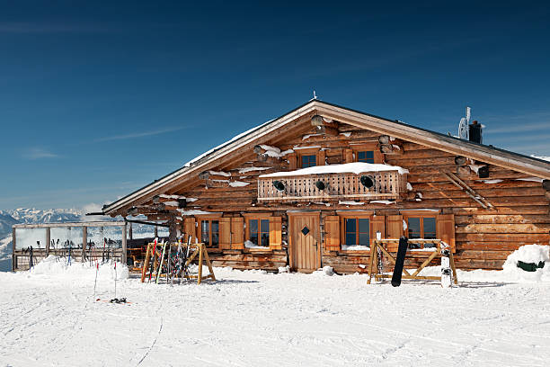 Ski Lodge Ski Hut located right by the slopes. chalet stock pictures, royalty-free photos & images