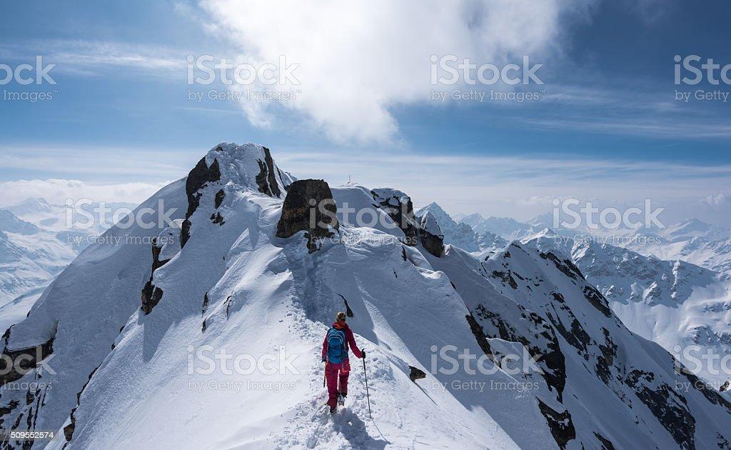 Ski mountaineering at the Flüela Schwarzhorn stock photo