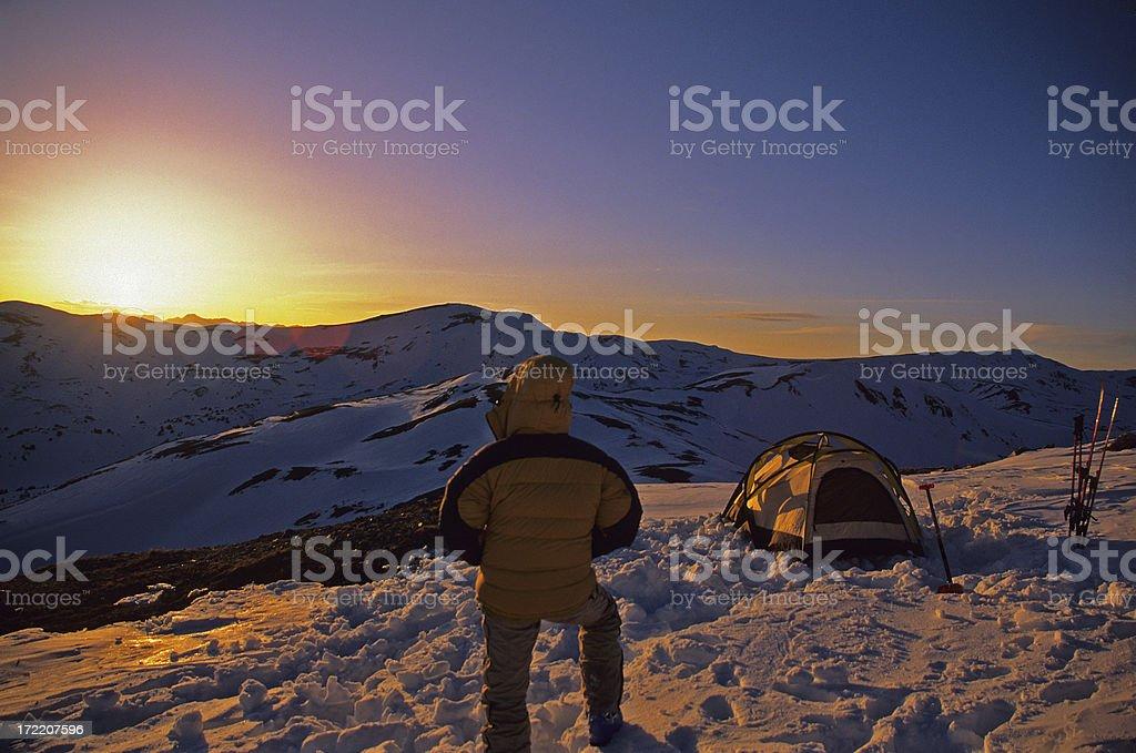 Ski Mountaineering Camp at Sunset royalty-free stock photo