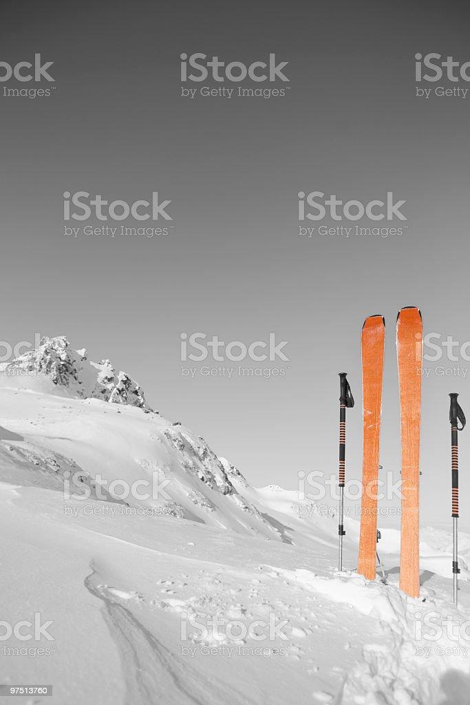 ski mountaineering - monochrome with coloured details royalty-free stock photo
