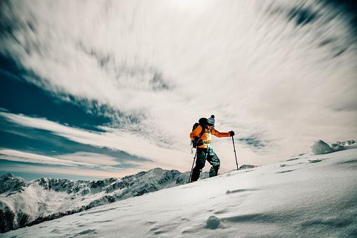 Ski mountaineering touring at night