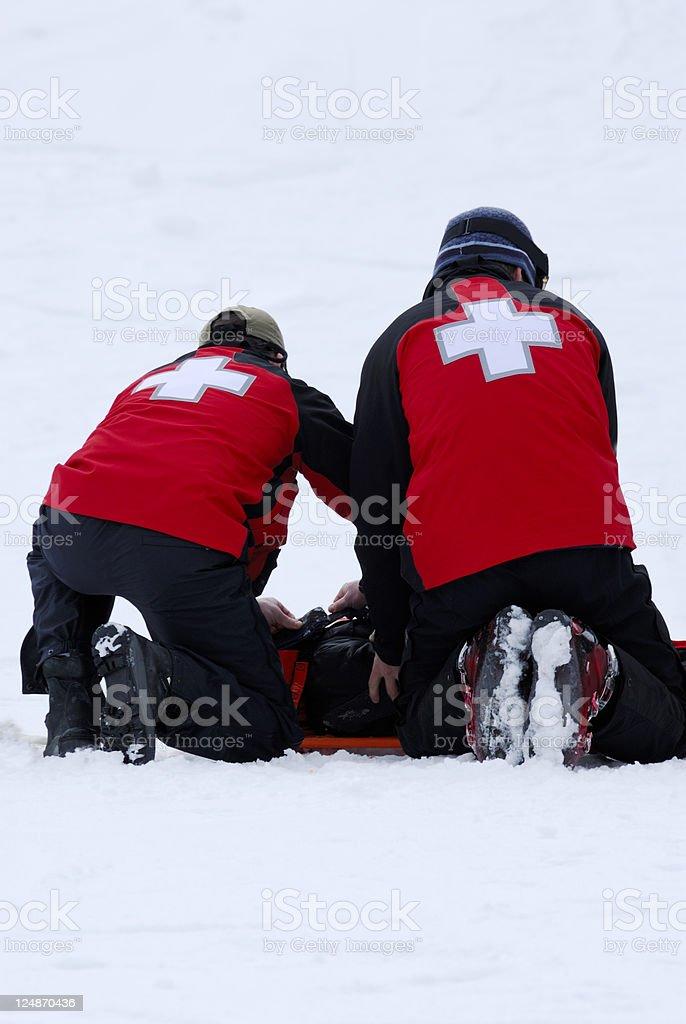 Ski Patrol At Work stock photo