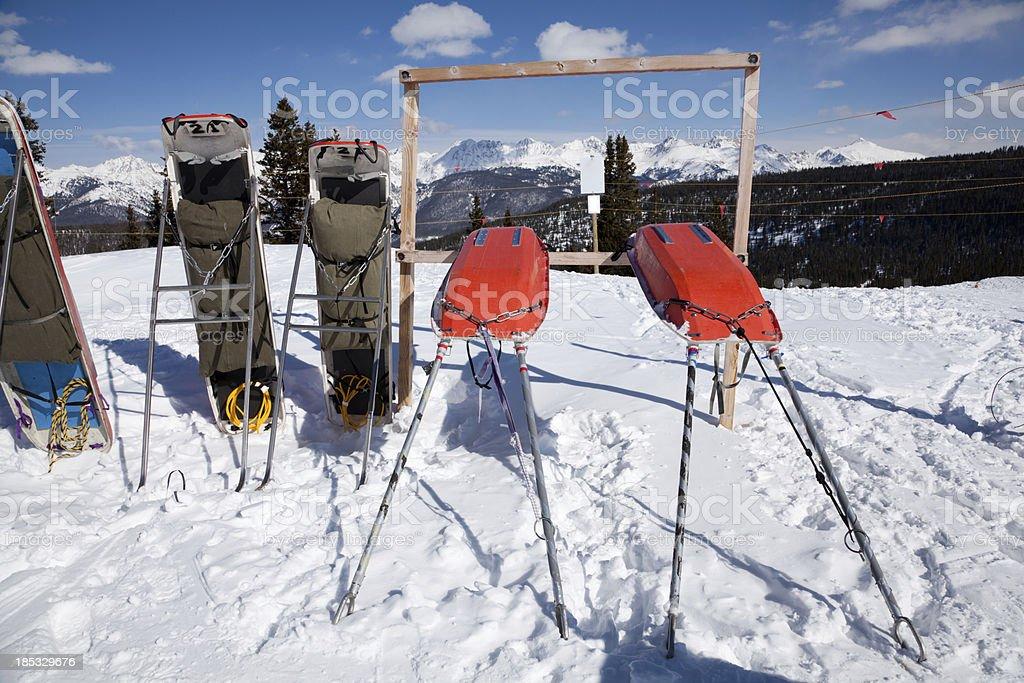 Ski patrol toboggans stock photo