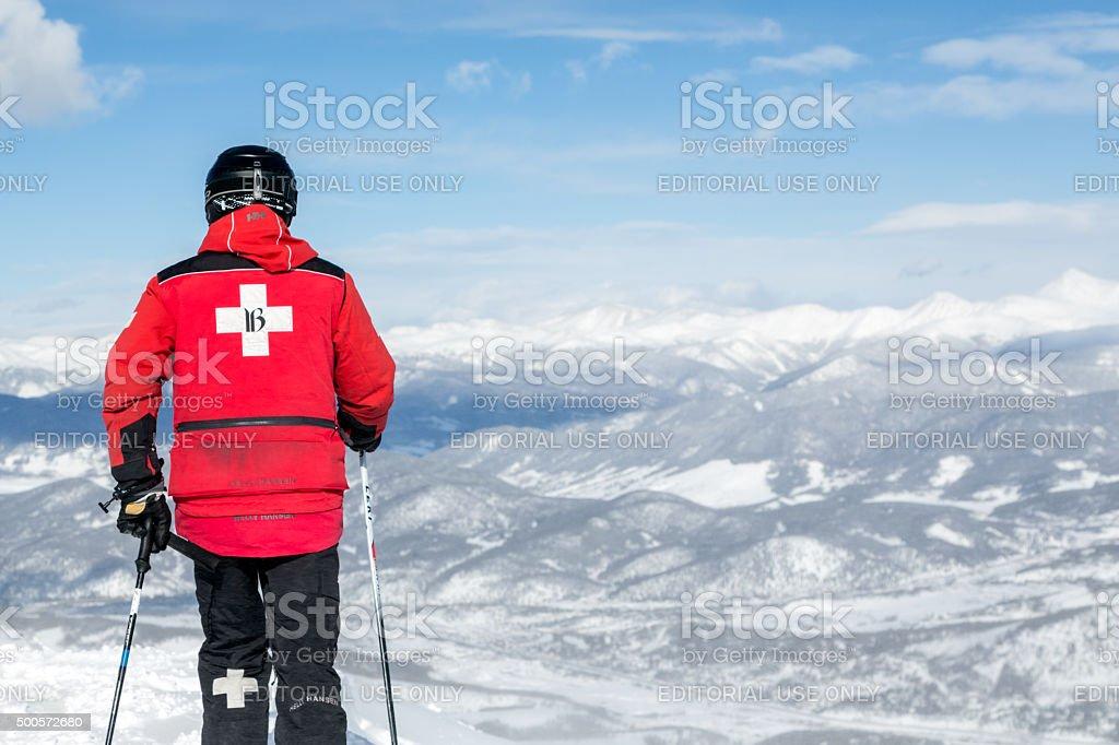Ski Patroller at Breckenridge Ski Resort Landscape, Colorado stock photo