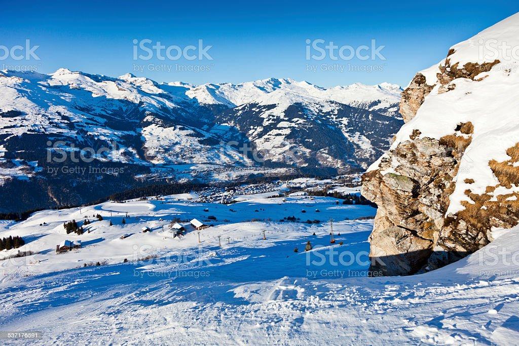 Ski Piste in Obersaxen stock photo
