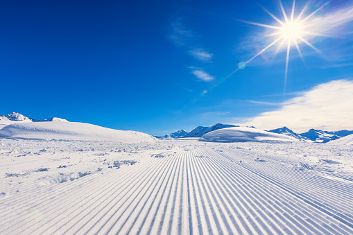 Ski Piste Ski Trail with Shining Sun