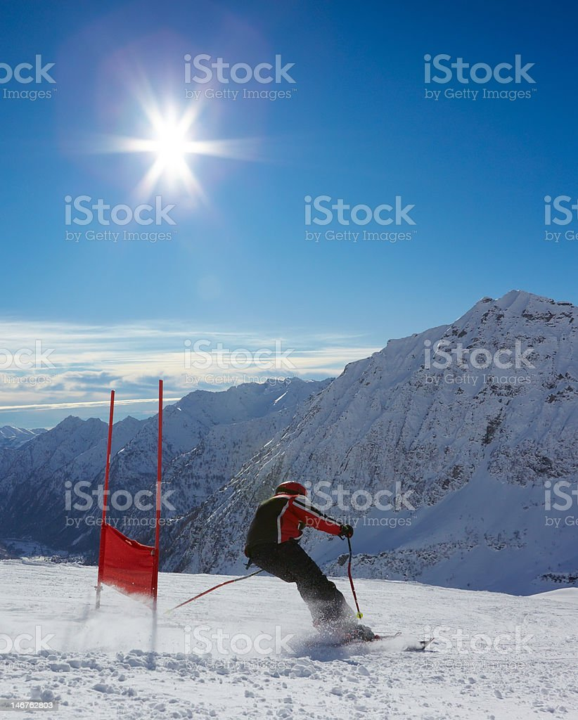Ski racer stock photo