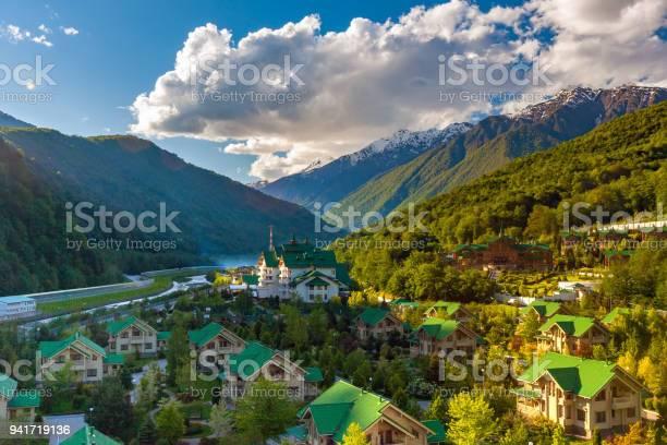 Photo of Ski Resort at Caucasus Mountains, Krasnaya Polyana, Sochi, Russia.