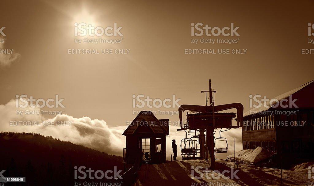 Ski resort at dawn stock photo