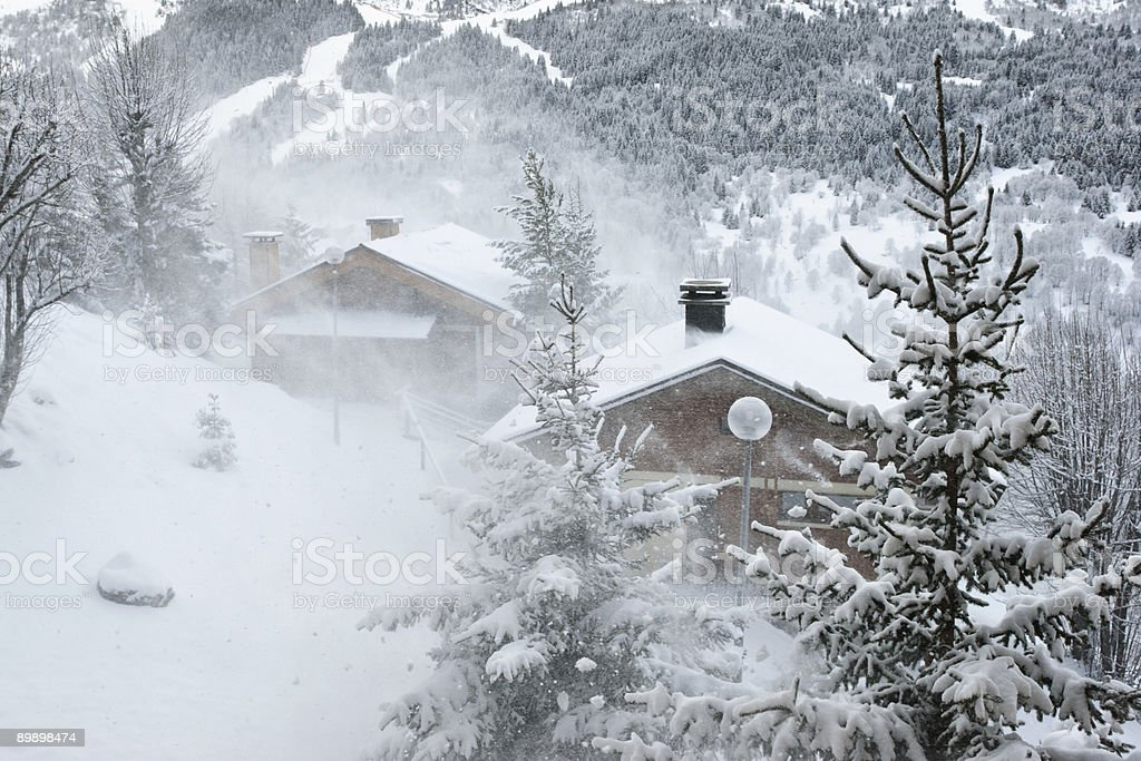 Ski resort at snow storm royalty free stockfoto