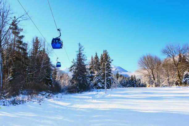 Ski resort Bansko, Bulgaria, ski lift stock photo