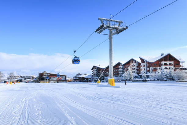 Ski resort Bansko, Bulgaria, ski lift stock photo