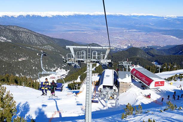 Ski resort chair lifts in Bansko, Bulgaria stock photo