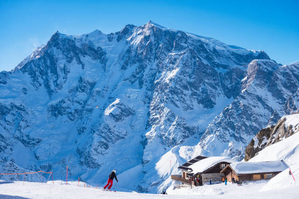 Ski resort if Macugnaga Ski resort of Macugnaga in dufourspifze area ski resort stock pictures, royalty-free photos & images