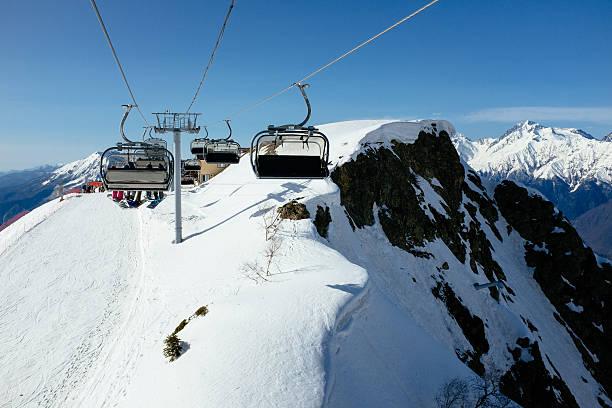 Ski resort in Sochi Gondolas lift in Rosa Khutor ski resort, Sochi, Russia sochi stock pictures, royalty-free photos & images