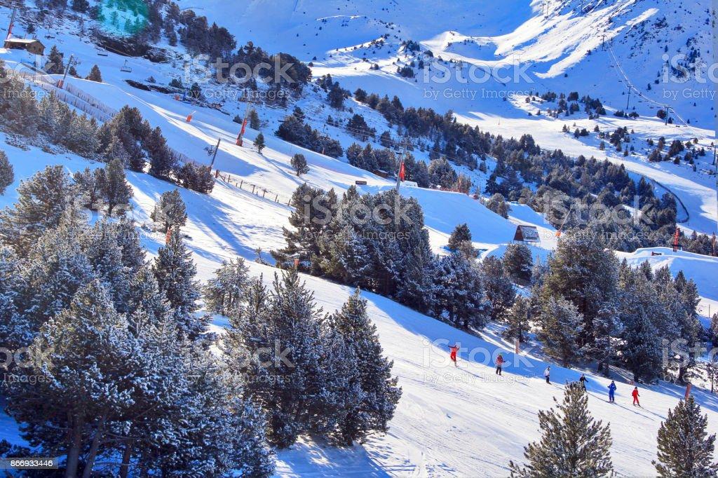 Ski resort  in  sunny day. stock photo