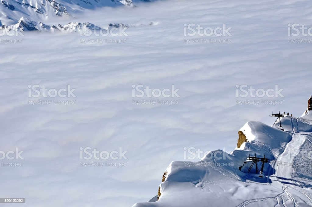Ski resort in the Alps stock photo