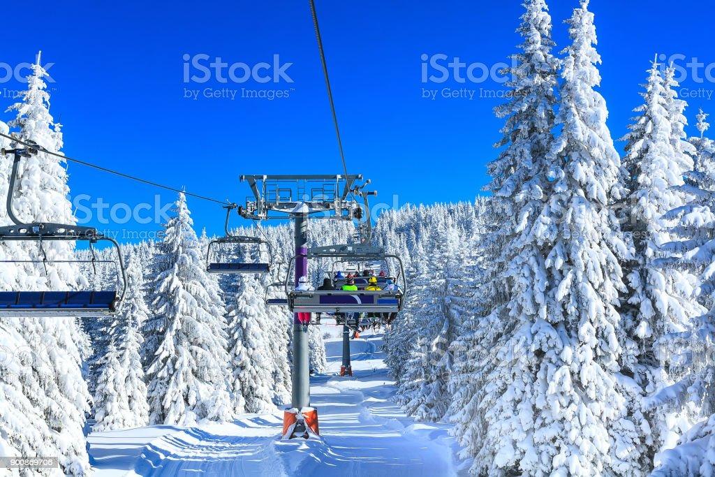 Ski resort Kopaonik, Serbia, chair lift stock photo