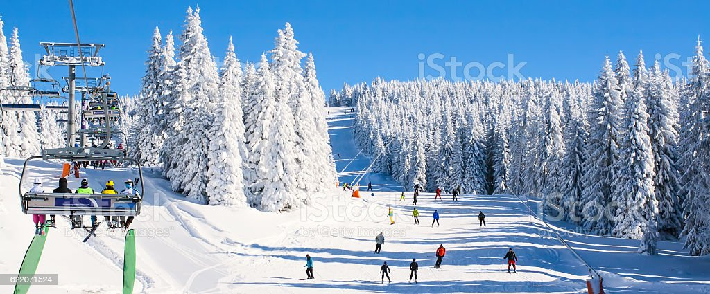 Ski resort Kopaonik, Serbia, lift, slope, people skiing stock photo