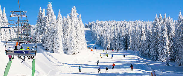 ski resort kopaonik, serbia, lift, slope, people skiing - serbia stock photos and pictures
