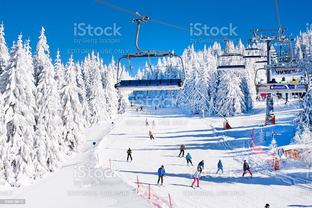 Ski resort Kopaonik, Serbia, ski lift, slope, people skiing stock photo