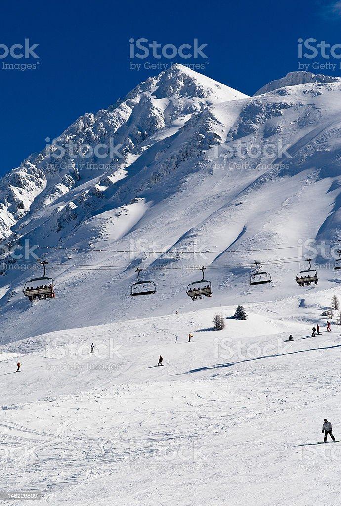 Ski resort Les Arcs. France stock photo
